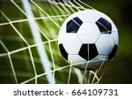 soccer ball in goal on green... | Shutterstock . vector #664109731