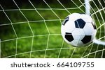 soccer ball in goal on green... | Shutterstock . vector #664109755