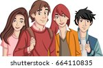 group of cartoon young people.... | Shutterstock .eps vector #664110835