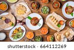 assorted indian food set on... | Shutterstock . vector #664112269