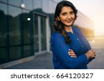portrait of a confident young... | Shutterstock . vector #664120327