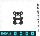teddy bear icon flat. simple... | Shutterstock . vector #664121737
