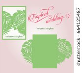 laser cut wedding invitation... | Shutterstock .eps vector #664125487