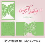 tropical laser cut wedding... | Shutterstock .eps vector #664129411