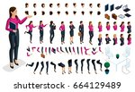 large isometric set of gestures ... | Shutterstock .eps vector #664129489