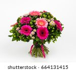 bouquet of spring flowers on... | Shutterstock . vector #664131415