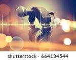 microphone and headphones.live... | Shutterstock . vector #664134544