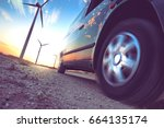 wind mills and tire car detail... | Shutterstock . vector #664135174