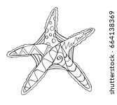hand drawn ornamental sea star... | Shutterstock .eps vector #664138369