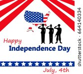 independence day greeting card.... | Shutterstock .eps vector #664140334