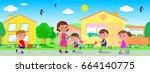 woman and children in urban... | Shutterstock .eps vector #664140775