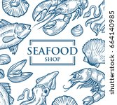 seafood background restaurant... | Shutterstock .eps vector #664140985