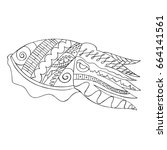 zentangle stylized cuttlefish... | Shutterstock .eps vector #664141561