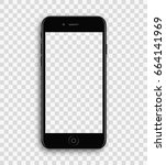 black phone mock up with blank... | Shutterstock .eps vector #664141969