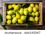 Fresh Lemon With Leaves. Lemon...