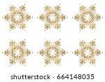 christmas stylized golden... | Shutterstock . vector #664148035