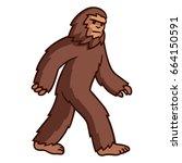 comic style cartoon bigfoot... | Shutterstock .eps vector #664150591