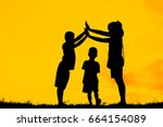 mom and son having fun at... | Shutterstock . vector #664154089