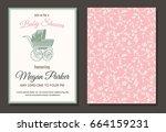 baby shower vintage invitation  ... | Shutterstock .eps vector #664159231