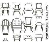 set icons of chairs and stools. | Shutterstock .eps vector #664167997