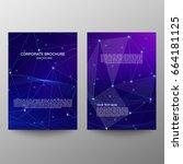purple a4 brochure cover design....   Shutterstock .eps vector #664181125