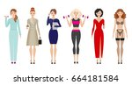 women at different times of the ... | Shutterstock .eps vector #664181584