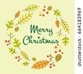 vintage merry christmas... | Shutterstock .eps vector #664183969