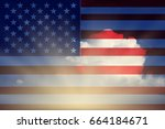 us flag waving democratic... | Shutterstock . vector #664184671