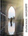 muslim woman silhouette prayer... | Shutterstock . vector #664184899
