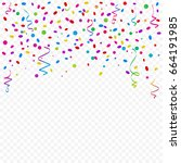 many falling colorful confetti... | Shutterstock .eps vector #664191985