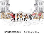 series of the streets with... | Shutterstock .eps vector #664192417