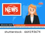 news anchor on tv breaking news ... | Shutterstock .eps vector #664193674