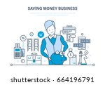 saving money business ... | Shutterstock .eps vector #664196791