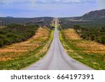 landscape with straight road to ... | Shutterstock . vector #664197391