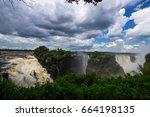 victoria's waterfall in... | Shutterstock . vector #664198135