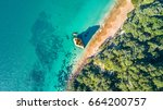 aerial view on a small beach...   Shutterstock . vector #664200757
