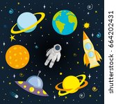 astronaut  planets and space... | Shutterstock .eps vector #664202431