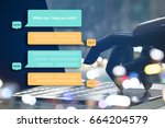 chat bot and future marketing... | Shutterstock . vector #664204579