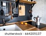 design of a modern home kitchen ... | Shutterstock . vector #664205137