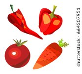 vector fruits and vegetables on ... | Shutterstock .eps vector #664207951