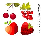 vector fruits and vegetables on ... | Shutterstock .eps vector #664207969
