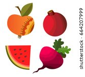 vector fruits and vegetables on ... | Shutterstock .eps vector #664207999