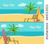 summer beach  sun loungers and... | Shutterstock .eps vector #664211011