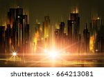 night city background  with... | Shutterstock . vector #664213081
