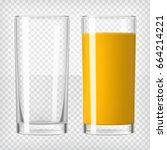 orange juice and an empty glass.... | Shutterstock .eps vector #664214221