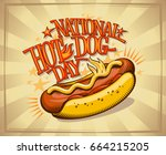 national hot dog day vector... | Shutterstock .eps vector #664215205