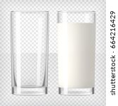 milk in a glass and an empty... | Shutterstock .eps vector #664216429