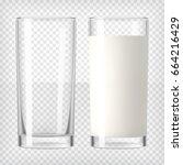 full and empty milk glasses.... | Shutterstock .eps vector #664216429
