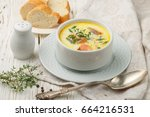 delicious cream soup with fresh ... | Shutterstock . vector #664216531