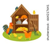 henhouse with funny birds on a... | Shutterstock .eps vector #664217641